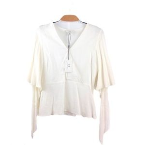 NWT H by Halston Chalk Linen Knot Sleeve Blouse